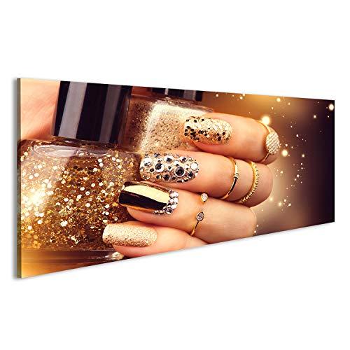 bilderfelix Acrylglasbild Glasbild Goldene Maniküre mit Edelsteinen und Scheinen Eine Flasche...