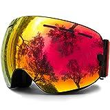 Juli OTG Ski Goggles,FramelessOverGlassesSkiing SnowGogglesforMenWomen&Youth-100% UVProtectionDualLens(BlackFrame+VLT 25.4% REVO Red)