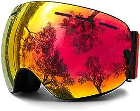 Juli OTG Ski Goggles,Frameless Over Glasses Skiing Snow Goggles for Men Women & Youth - 100% UV Protection Dual Lens (Black Frame+VLT 25.4% Brown Len with REVO Red)