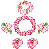 Udalyn Hawaiian Luau Flower Leis Jumbo Necklaces Bracelets Headband Anklets Set 6-7 Pack
