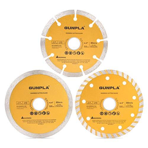 Gunpla Diamant-Trennscheibe-Set, 3-teilig Ø 115 mm- 22,23 mm Bohrung Diamanttrennscheibe für Fliesen, Beton, Ziegelstein, Dachziegel, Granit und Klinker