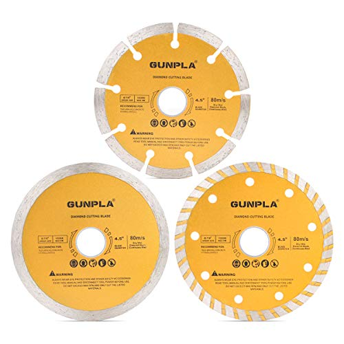 Gunpla 3 Pieces 4-1/2 inch Diamond Cutting Blade Continuous Segmented Turbo Rim Dry Wet Circular Saw Cutter Angle Grinder Disc 7/8 inch Arbor with Reducing Ring 5/8 inch for Tile Masonry