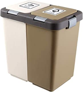 FuLov Recycle Bin 20L Plastic with Pop Up Lid 2 Compartments Handles Durable Detachable Soft-Closing for Office Kitchen Home Bathroom Rectangular