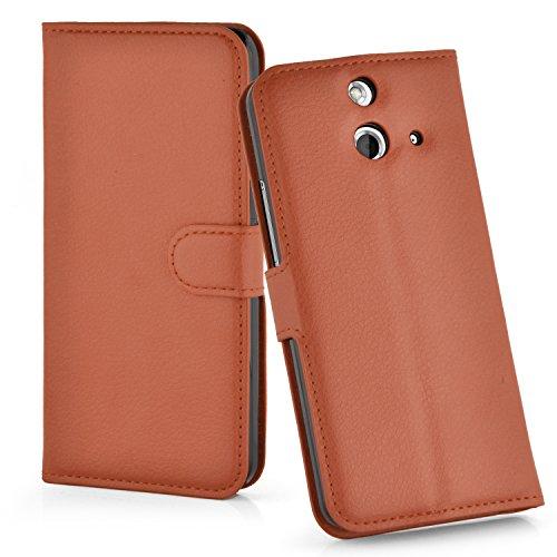 Cadorabo Hülle für HTC ONE E8 - Hülle in Schoko BRAUN – Handyhülle mit Kartenfach & Standfunktion - Case Cover Schutzhülle Etui Tasche Book Klapp Style