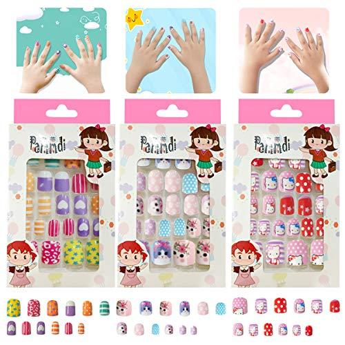 LATTCURE Kinder Falsche Nägel 72 Stück Nägel Zum Aufkleben für Kinder, Kunstnägel für Kinder, Cartoon-Motiv, kurz ,Falsche Nägel Selbstklebende Künstliche Fingernägel für Mädchen Damen
