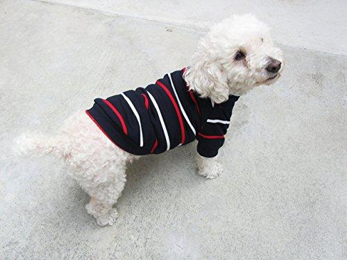 Navy Striped Turtle Neck Raglan Top, Winter Dog Top, Dog Clothing, Dog Apparel