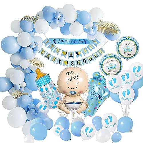 weeyin Baby Shower Decoracion Niño, Azul Globo Nacido Bebé Adorno Baby Shower Niño, Baby Shower Banner, de Decoracion para Baby Shower Niño Globo Recién Nacido Niño Reciclado
