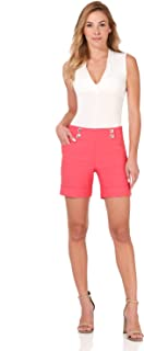 Rekucci Women's Ease Into Comfort 6 inch Cuffed Short with Button Detail