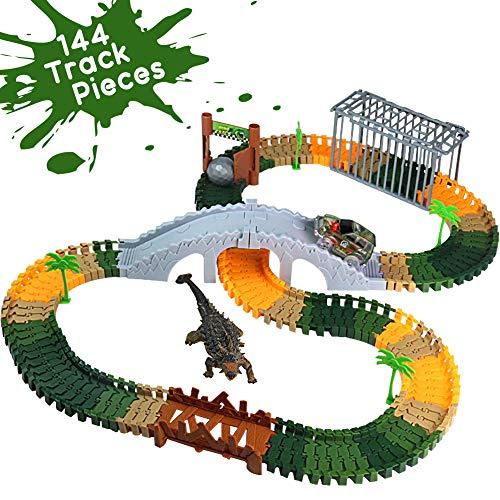 Dinosaurier Auto Spielzeug Autorennbahn Twister Track Militärfahrzeuge Konstruktionsspielzeug Montage Spielzeug Dinosaurier Figuren Set für 3 4 5 Jahre alte Kinder Spielzeug Geschenk (144 Spur Stücke)