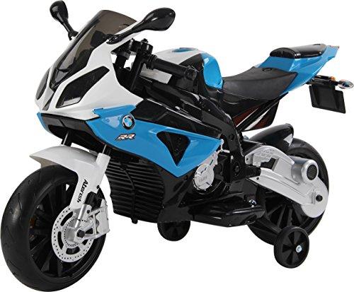 RunRunToys Moto BMW eléctrica 12v con Luces led para niños a Partir de 3 años con Asiento de Piel y Ruedas de Goma eva, Color Azul y Blanco (Herrajes Multimec 4021)
