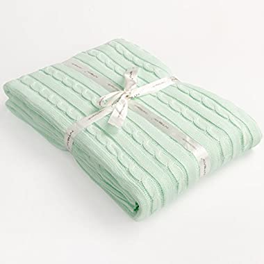NTBAY 100% Cotton Cable Knit Throw Blanket Super Soft Warm Multi Color (51 x 67 inches, Light Cyan)