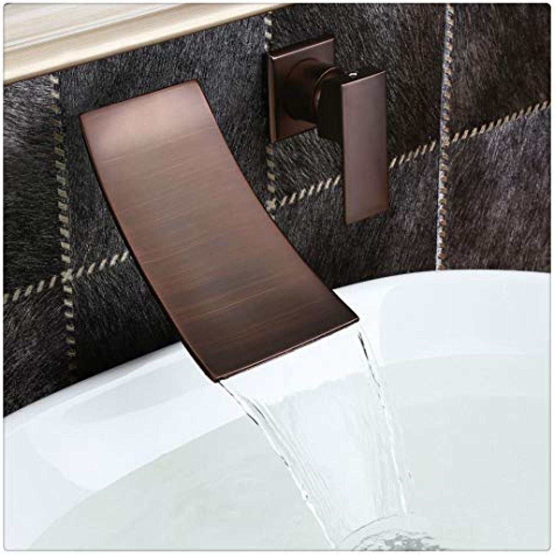 Waschtischarmatur Für Bad Wasserfall-Einhand-Wandhahn In Mit l Eingeriebenem Bronze-Badezimmer-Waschraumhahn
