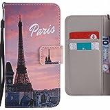 LEMORRY Per Apple iPhone 7 Plus Custodia Pelle Cuoio Flip Portafoglio Borsa Protettivo Magnetico Morbido Silicone TPU Cover Custodia per Apple iPhone 7 Plus, Paris