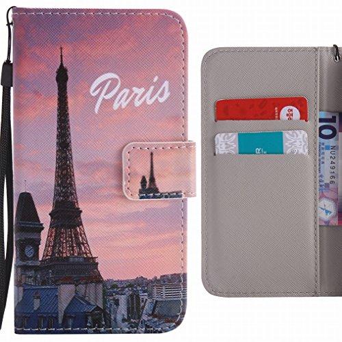 LEMORRY para Huawei P9 Lite (Huawei G9 Lite) Funda Estuches Cuero Flip Billetera Bolsa Piel Slim Protector Magnética Cierre Standing Card Slot TPU Silicona Carcasa Tapa para Huawei P9 Lite, Paris