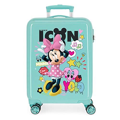Disney Enjoy Minnie Icon Maleta de Cabina Azul 37x55x20 cms Rígida ABS Cierre combinación 34L 2,6Kgs 4 Ruedas Dobles Equipaje de Mano