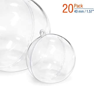 DAORANGE Christmas Clear Plastic DIY Fillable Ornaments Balls, Christmas Tree Transparent Balls Wedding Party Gifts Home Décor (40mm)