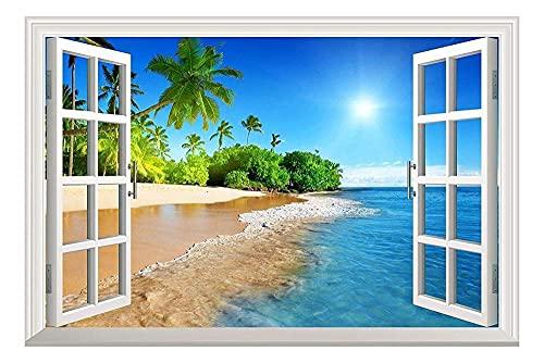 3D Faux Fenster Vollfarbige High Definition Sommer Sonnenschein Strand Natur Falscher Rahmen Fenster Wandbild Vinyl Schlafzimmer Aufkleber-60x90cm_