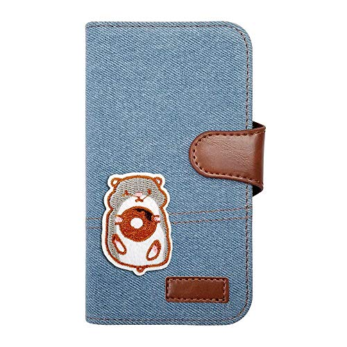 【moimoikka】 Xperia XZ2 Premium SO-04K/SOV38 エクスペリアXZ2プレミアム ケース 手帳型 ハムスター 動物 キャラクター かわいい はむすたー アニマル デニム(サックス) ワッペン 刺繍 生地 布 ファブリック