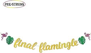 Final Flamingle Gold Glitter Banner PRE-STRUNG for Summer Hawaiian Luau Flamingo Bachelorette Party Decorations