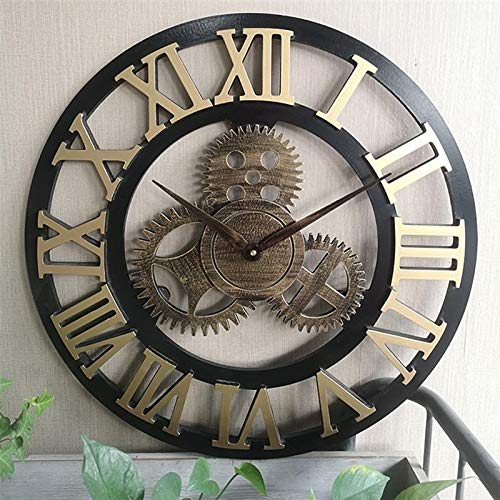 Byrhgood Wall Clock Industrielle Getriebe Wanduhr Dekorative Wanduhr Industrielle Stil Wanduhr (50cm Goldener Versand ohne Batterie) (Color : Gold, Size : 40cm)