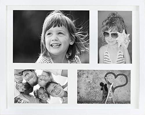 28 x 35 cm meervoudige fotolijst, fotogalerij met passe-partout en 4 foto-uitsparingen voor 3 foto's 10 x 15 cm en 1 foto 14,8 x 21 cm (A5), wit