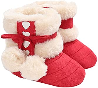 ZUMUii Butterme Baby Caliente Botas De Algodón Suave Antideslizante Soles Lindo Zapatos De Niño para 0-18 Meses Bebé(12CM,Rojo)