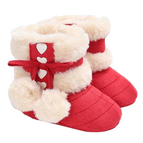 ZUMUii Butterme Baby Caliente Botas De Algodón Suave Antideslizante Soles Lindo Zapatos De Niño para 0-18 Meses Bebé(13CM,Rojo)