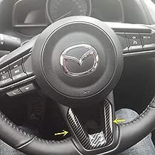 Red Sport Carbon Fiber Print Interior Steering Wheel Trim for Mazda 3 6 CX-3 CX-5 CX-9 (Carbon Fiber)