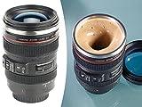 Somikon Selbstrührende Tasse: Kameraobjektiv-Thermobecher mit batteriebetriebenem Rührwerk, 220 ml...