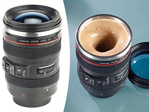 Somikon Objektiv Becher: Kameraobjektiv-Thermobecher mit batteriebetriebenem Rührwerk, 220 ml (Selbstrührende Tasse)