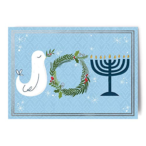 Designer Greetings Interfaith Holiday Cards with glitter, foil and embossed treatments and silver foil lined white envelopes in a sturdy red box with clear acetate lid. 18 cards and envelopes per box.