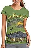 John Denver Rocky Mountain High Camiseta de manga corta para mujer, patrón personalizado, impresión de cuello redondo, camisetas guerra