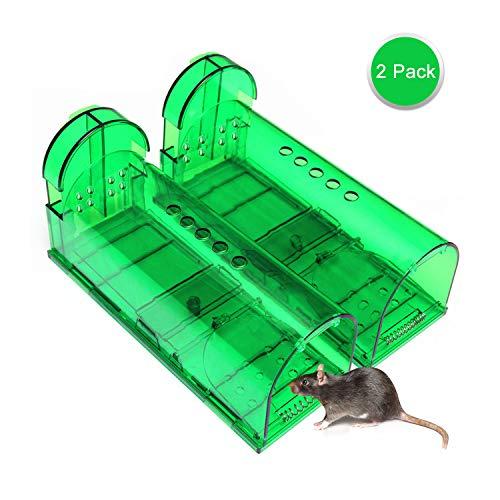 Mausefalle Lebend, 2 Stück Mausefalle Rattenfalle Tierfreundliche Lebendfalle Rattenfalle, Wiederverwendbare Lebendfalle Professionelle Kastenfalle Lebendfallen Mäuse mit Luftlöchern