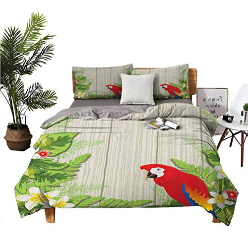 """Parrot Luxury Family Microfiber Suit 3-Piece Set Tropic Flowers and Parrot in Summer Garden Wooden Wall Ferns Artwork Suitable for Any Bedroom or Guest Room Full (Double) 80'x90' 20"""" x 26"""" Cream Gree"""