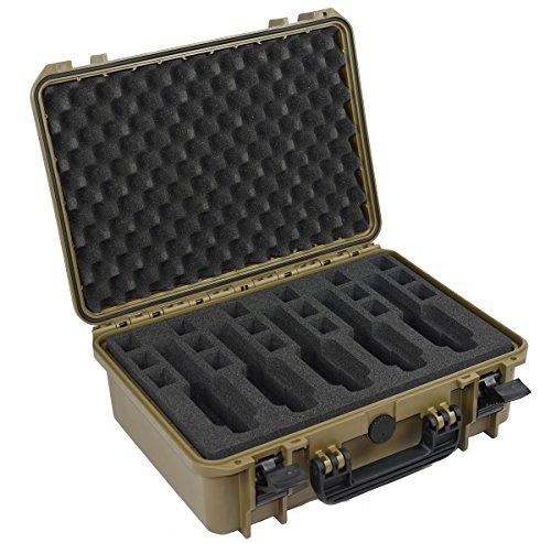 Elephant EL5G 5 Guns Pistol Hard Case Waterproof dust-Proof TSA Approved Multiple Gun case (Sahara Green)