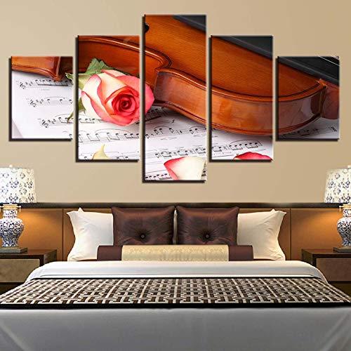 UDPBH 5 Paneles Decoración Moderna del Arte De La Pared del Hogar Cuadros Rosa Violín Instrumento Musical Partitura Pintura sobre Lienzo para Sala De Estar