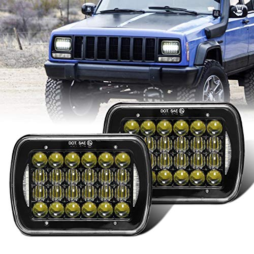 """COWONE Cree 5D Projector H6054 Led Headlight 7""""x6"""" 5x7 inch LED Headlights Compatible with Jeep Wrangler YJ Cherokee XJ H6054 H5054 H6054LL 69822 6052 6053 2Pcs Black"""