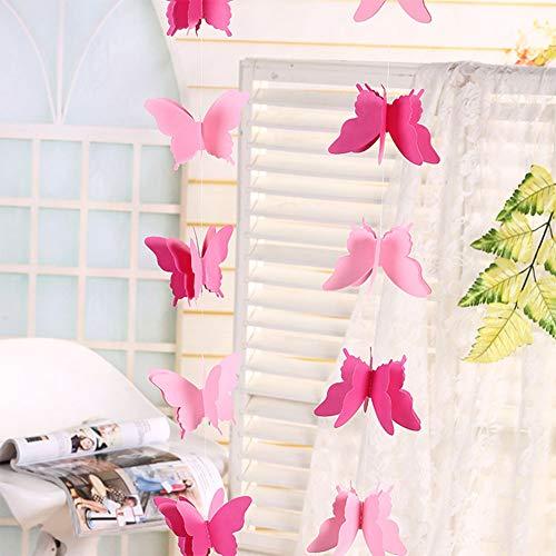 Qiyun 3D Papel Mariposas decoración, decoración Guirnalda para cumpleaños Boda Bautizo Navidad Halloween Graduación Nacimiento