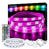 Govee Ruban LED 5M Multicolore 5050 RGB SMD Améliorée, Bande LED Lumineuse Avec Télécommande à Infrarouge 44 Touches et Boîtier de Contrôle, Décoration d'armoire, Peut-Découpé, 12V 1.5A,