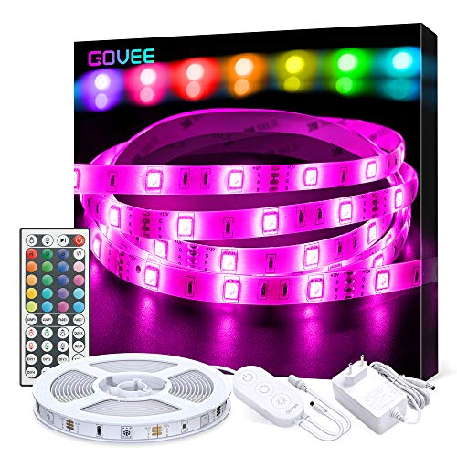 Govee Striscia LED 5M, Strisce LED RGB 5050 con 44 Tasti Telecomando IR, 20 Colori 8 Modalità e 6 Opzioni DIY, LED Strip per Decorazioni, Cucina, Bar, Festa, 12V 1.5A, Facile Installazione