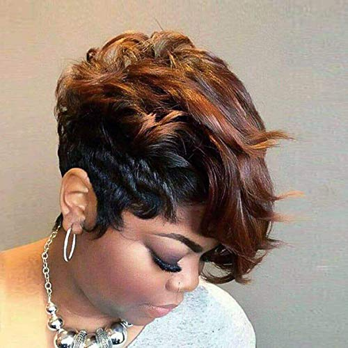 BeiSD Short Black Wig with Mixed Brown Bangs Natural Short Haircuts for Women Synthetic Short Wigs for Black Women… (7319)