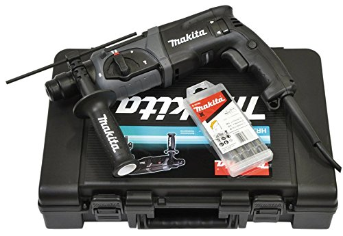 Makita HR2470BX40 Rotary Hammers 780 W-Martillo perforador (SDS Plus, 2,4 cm, 1100 RPM, 2,4 J, 4500 ppm, 1,3 cm), Negro, Gris