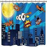 Riyidecor Superhelden-Duschvorhang, Gebäude, Stadtlandschaft, Gelber Mond, Cartoon-Sprechblasen, Skyline, Abendszene aus Polyester, wasserdicht, 183 x 183 cm, 12 Stück Kunststoffhaken enthalten