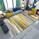 alfombras dormitorio matrimonio amarillo Alfombra duradera del modelo de la raya borrosa amarilla de la sala de estar lavable alfombra bebe gateo 160X230CM alfombras de habitacion grande 5ft 3''X7ft 6