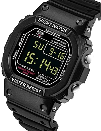 Reloj de Pulsera para Hombres Reloj Deportivo Deportivo Digital 30M Relojes Militares Digitales a Prueba de Agua Negro Big Face LED Outdoor para Hombres Peng (Color: Negro)-Negro