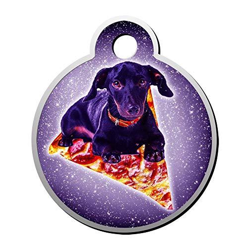 Aanpasbare ronde vorm ID labels, Galaxy Pizza Hond Vliegen Gepersonaliseerde Dubbelzijdige Gedrukte Huisdier Informatie Kraag voor Kat Hond