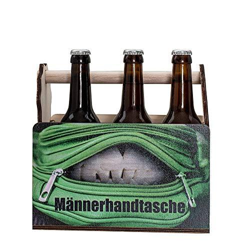 Bierträger aus Holz Opas Werkzeugkiste Männer-Handtasche Holz | 6er Träger lustige Bier-Geschenke | Bierträger auch mit Wunschnamen | Träger für Bierflaschen | Biergeschenk Papas Männerhandtasche