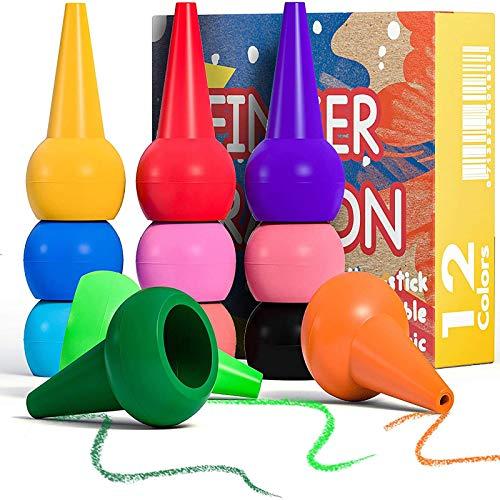 PGFUNNY Lápices de Colores para Niños, Pintura de Dedos para Niños 12 Colores Ceras de Colores, Pintura Dedos Bebe no toxica,Apilables y Apto para niños pequeños