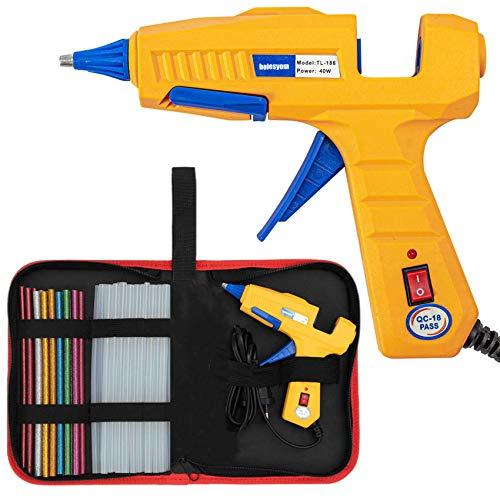 Hot Glue Gun with Glue Sticks -25pcs Upgraded 40W Mini Hot Melt Glue Gun with Case for DIY Crafts, Glue Gun Kit with Carry Bag Glitter Sticks for Home Office Quick Repairs