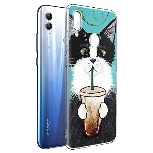 Pnakqil Huawei Y9 2019 Hoes, Transparant Helder met Stijlvol Patroon for Huawei Y9 2019 Cat drank